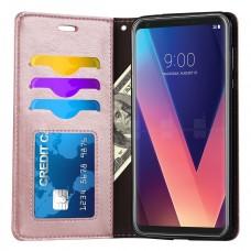 جراب ال جي في 30 / في 30 بلس LG V30 / V30 plus ماركة فيرلاينسو Ferlinso محفظة فليب جلد مع ستاند ومكان للبطاقات - وردي