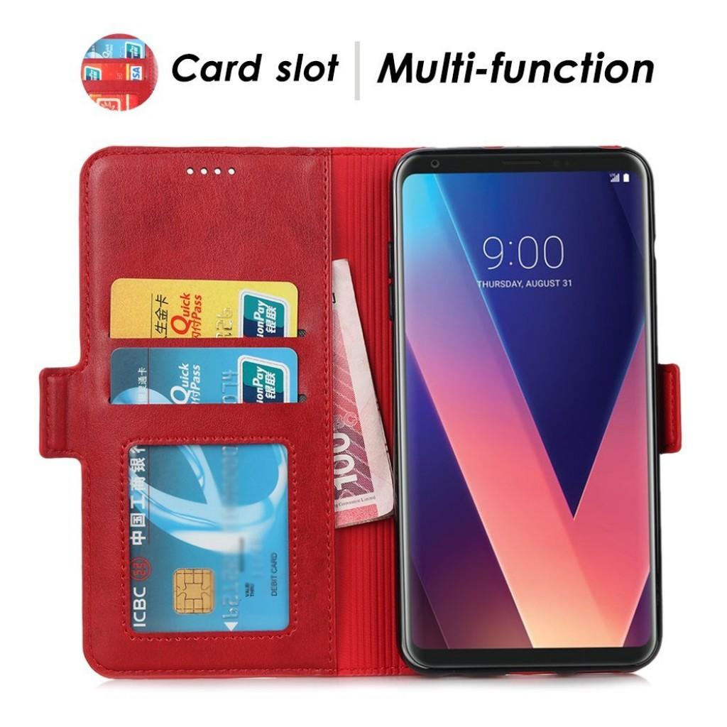 جراب ال جي في 30 / في 30 بلس LG V30 / V30 plus ماركة محفظة جلد مع مكان للبطاقات وستاند - احمر