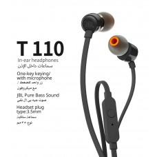 سماعات داخل الأذن سلكية ماركة جيه بي إل JBL, نوع TUNE 110, سماعة اوكس AUX 3.5مم, متوافقة مع جميع الأجهزة بمنفذ أوكس 3.5مم, موديل: JBLT110 - اسود