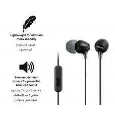 سماعات داخل الأذن سلكية ماركة سوني Sony, سماعة اوكس AUX 3.5مم, مع ميكروفون, متوافقة مع جميع الأجهزة بمنفذ أوكس 3.5مم, موديل: MDR-EX15AP - اسود