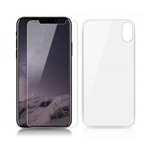 واقي شاشه زجاجي -استكر زجاج- ايفون اكس / اكس اس iPhone X / XS ماركة شارك بوكس SHARKSBox وضوح عالي مقاوم التبقع - من الأمام والخلف