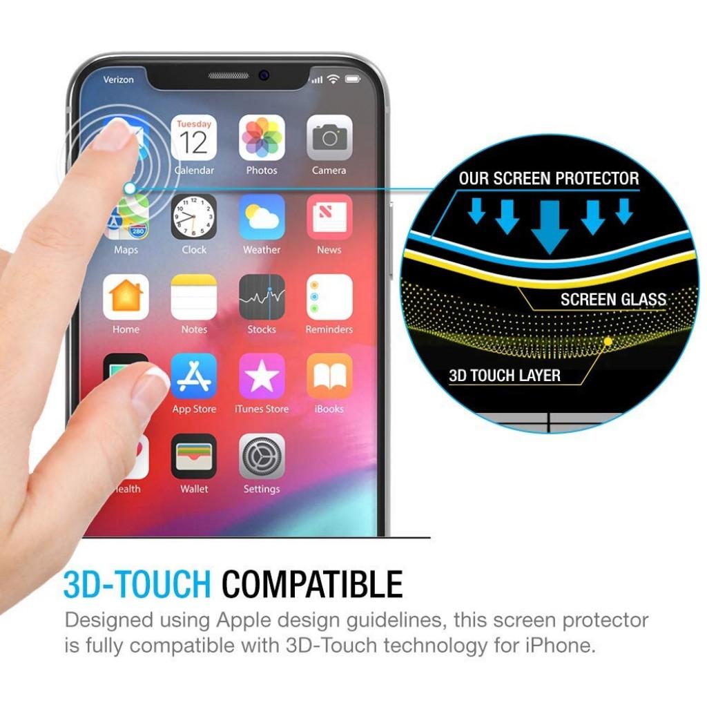 واقي شاشه زجاجي -استكر زجاج- ايفون اكس / اكس اس iPhone X / XS ماركة ماكس بوست Maxboost وضوح عالي مقاوم التبقع - 3 حبات