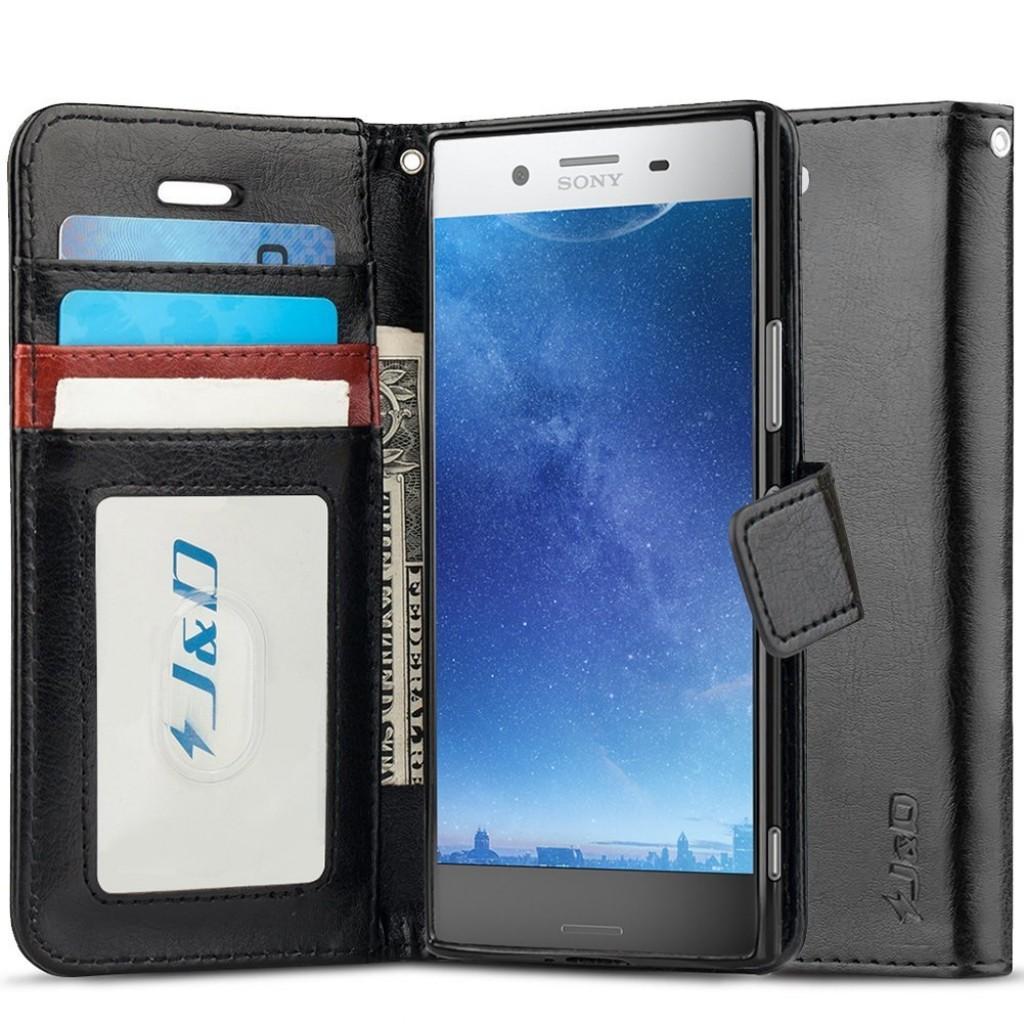 جراب اكسبيريا اكس زد بريميوم Xperia XZ Premium ماركة جيه آند دي J&D محفظة جلد مع مكان للبطاقات وستاند - اسود