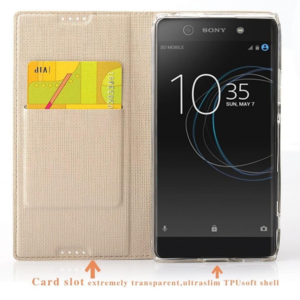 جراب اكسبيريا اكس زد بريميوم Xperia XZ Premium محفظة فليب مع ستاند ومكان للبطاقات - ذهبي